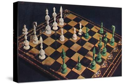 'Seventeenth-Century Ivory Chessmen and Board', 1948-Unknown-Stretched Canvas Print