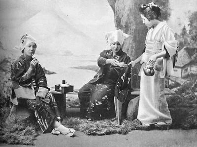 Japanese peasant girls taking tea at a wayside rest, 1902-Unknown-Framed Photographic Print