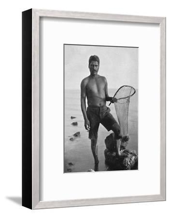 A native shrimper, Hawaii, with his net, 1902-Unknown-Framed Photographic Print