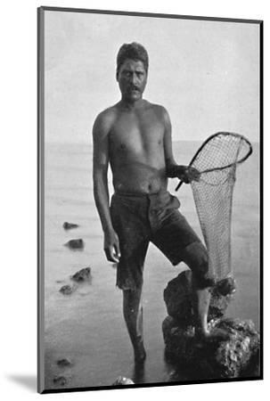 A native shrimper, Hawaii, with his net, 1902-Unknown-Mounted Photographic Print