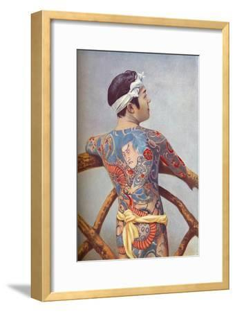 An elaborately tattooed Japanese man, 1902-Unknown-Framed Giclee Print