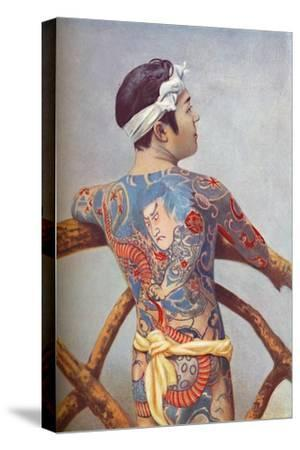 An elaborately tattooed Japanese man, 1902-Unknown-Stretched Canvas Print