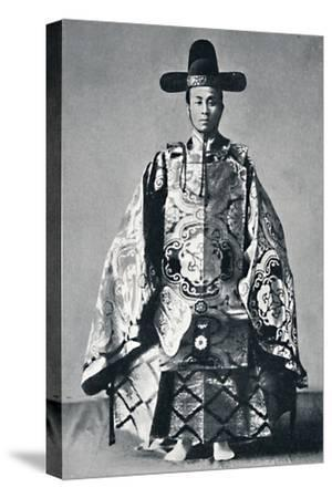 A Japanese court noble in ancient dress, 1902-Unknown-Stretched Canvas Print