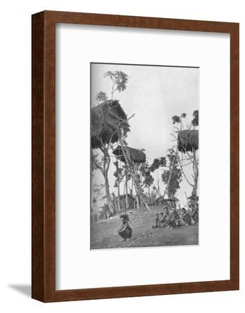 Dobos, tree houses for unmarried women in Melanesia, 1902-W Lindt-Framed Photographic Print