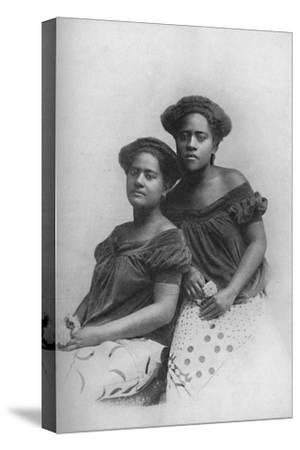 Two Fijian princesses with the hair dressed in European style, 1902-Unknown-Stretched Canvas Print