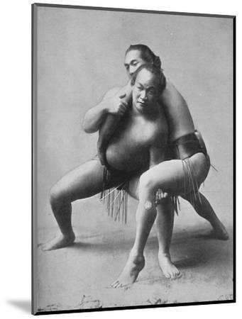 A sumo wrestling bout between a pair of Japanese professionals, 1902-Unknown-Mounted Photographic Print