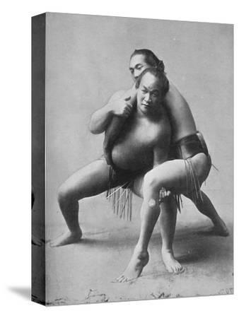A sumo wrestling bout between a pair of Japanese professionals, 1902-Unknown-Stretched Canvas Print