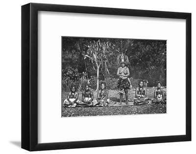 A group of Samoan dancing women in full costume, 1902-Unknown-Framed Photographic Print