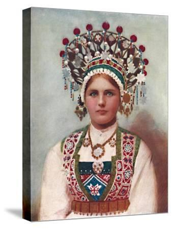 A Norwegian girl in bridal dress, 1912-Unknown-Stretched Canvas Print