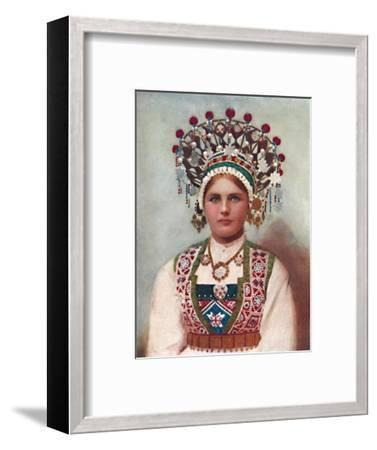 A Norwegian girl in bridal dress, 1912-Unknown-Framed Giclee Print