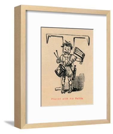 'Pleased with his Rattle', 1852-John Leech-Framed Giclee Print
