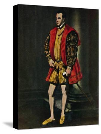 'König Philipp II. Von Spanien 1527-1598. - Gemälde von Tizian', 1934-Unknown-Stretched Canvas Print