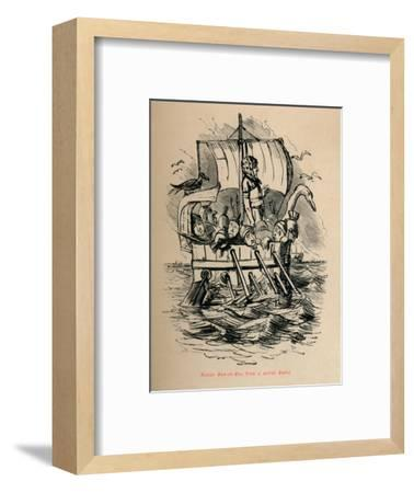 'Roman Man-of-War, from a scarce Medal', 1852-John Leech-Framed Giclee Print
