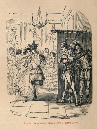 'Mrs Sextus consoles herself with a Little Party', 1852-John Leech-Framed Giclee Print