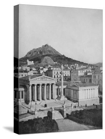 'The Academy, Mount Lycabettus in the background', 1913-Unknown-Stretched Canvas Print