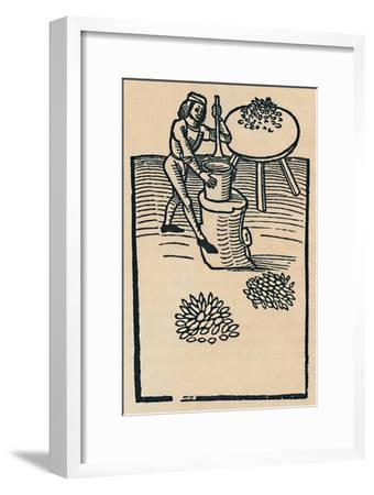 'Crushing Herbs in a Mortar', 1947-Unknown-Framed Giclee Print
