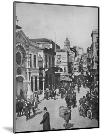 'Street vista in Galata from end of bridge, Constantinople', 1913-Unknown-Mounted Photographic Print