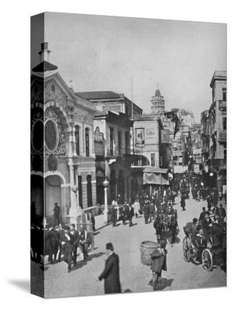 'Street vista in Galata from end of bridge, Constantinople', 1913-Unknown-Stretched Canvas Print