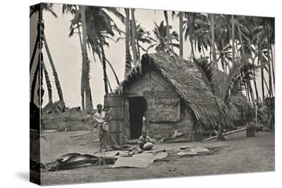 Kokospalmen und Einngeborenenhutte aus Kokosblattern-Unknown-Stretched Canvas Print
