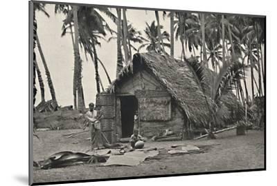 Kokospalmen und Einngeborenenhutte aus Kokosblattern-Unknown-Mounted Photographic Print
