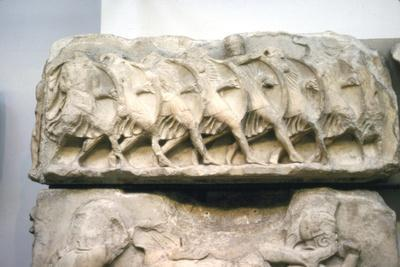 Greek relief, Greek soldiers form a Phalanx, 5th century BC-Unknown-Framed Giclee Print