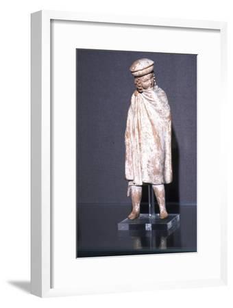 Greek Terracotta Boy wearing Cloak, Athens, 300 BC-Unknown-Framed Giclee Print