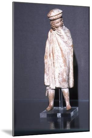 Greek Terracotta Boy wearing Cloak, Athens, 300 BC-Unknown-Mounted Giclee Print