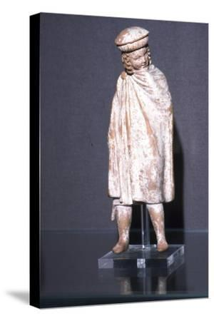 Greek Terracotta Boy wearing Cloak, Athens, 300 BC-Unknown-Stretched Canvas Print