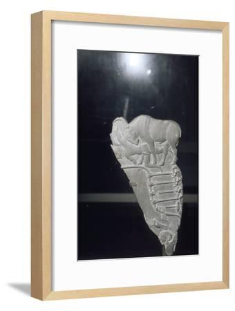 Palette with bull goring man, circa late 4th millennium BC-Unknown-Framed Giclee Print