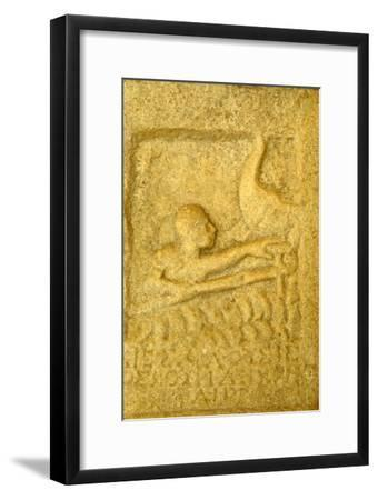 Greek Grave-Slab of Shipwrecked Sailor, from Rheneia, Mykonos, c5th century BC-Unknown-Framed Giclee Print