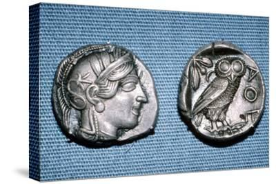 Tetradrachm, Greek Coin, Silver Head of Athena and Owl, mid to late 5th century BC-Unknown-Stretched Canvas Print