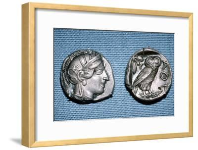Tetradrachm, Greek Coin, Silver Head of Athena and Owl, mid to late 5th century BC-Unknown-Framed Giclee Print