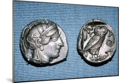 Tetradrachm, Greek Coin, Silver Head of Athena and Owl, mid to late 5th century BC-Unknown-Mounted Giclee Print