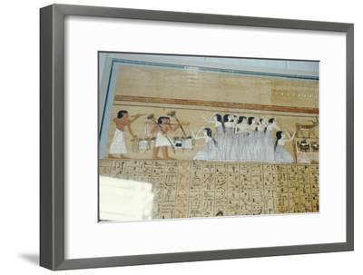 Papyrus of Ani, Mourners Ancient Egyptian Funeral Procession, c1250 BC-Unknown-Framed Giclee Print