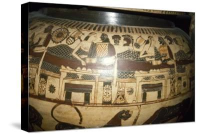 Greek Vase-Painting, A Banquet, possibly Funerary, c5th century BC-Unknown-Stretched Canvas Print