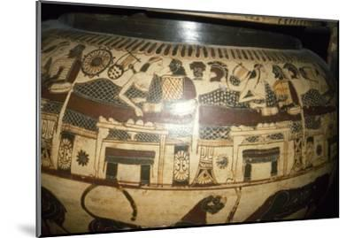 Greek Vase-Painting, A Banquet, possibly Funerary, c5th century BC-Unknown-Mounted Giclee Print