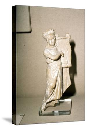 Greek Terracotta, Woman playing Kithera with plectrum, 3rd century BC-2nd century BC-Unknown-Stretched Canvas Print