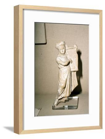 Greek Terracotta, Woman playing Kithera with plectrum, 3rd century BC-2nd century BC-Unknown-Framed Giclee Print