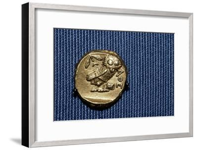 Owl on a Greek Gold Stater struck by Lachares, 300BC-295BC-Unknown-Framed Giclee Print