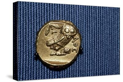 Owl on a Greek Gold Stater struck by Lachares, 300BC-295BC-Unknown-Stretched Canvas Print