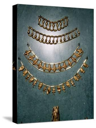 Gold necklaces and bracelets, Ancient Egyptian, 1st millennium BC-Unknown-Stretched Canvas Print