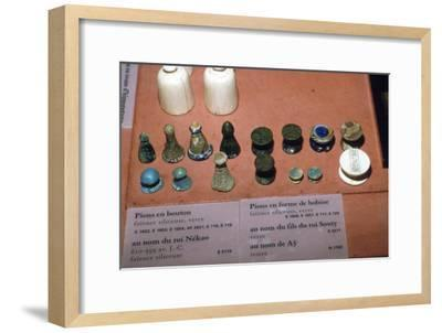 Faience, Glass and Ivory Playing Pieces from Egyptian Tombs, circa 1500 BC-Unknown-Framed Giclee Print