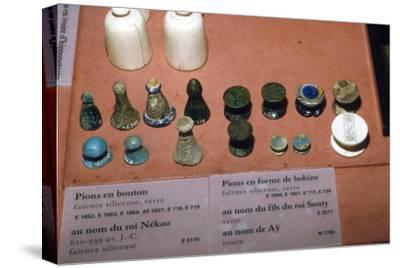 Faience, Glass and Ivory Playing Pieces from Egyptian Tombs, circa 1500 BC-Unknown-Stretched Canvas Print