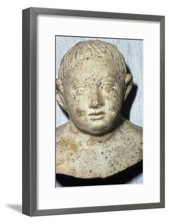 Roman Pipeclay Head of Child from Roman grave at Colchester, Essex, c2nd-3rd century-Unknown-Framed Giclee Print