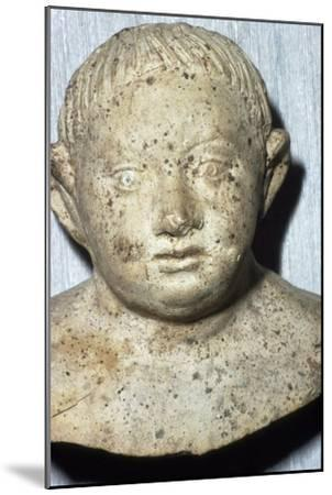 Roman Pipeclay Head of Child from Roman grave at Colchester, Essex, c2nd-3rd century-Unknown-Mounted Giclee Print