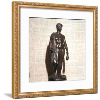 Mercury holding a purse, carrying a traveller's cloak. Roman brronze, 1st century-Unknown-Framed Giclee Print