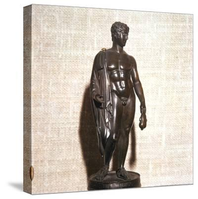 Mercury holding a purse, carrying a traveller's cloak. Roman brronze, 1st century-Unknown-Stretched Canvas Print