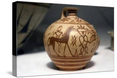 Horseman on Greek Scent-Bottle (Araballos) Proto-Corinthian, c7th century BC-Unknown-Stretched Canvas Print