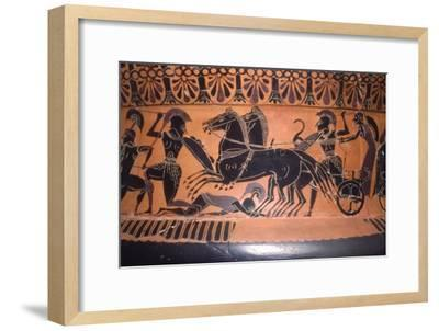 Greek Soldiers and Chariot in Battle, vase painting, c6th century BC-Unknown-Framed Giclee Print