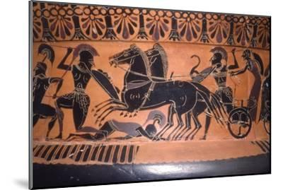 Greek Soldiers and Chariot in Battle, vase painting, c6th century BC-Unknown-Mounted Giclee Print